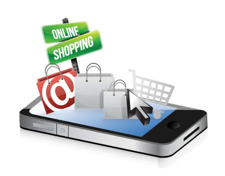 online trading: smartphone online shopping concept illustration design over white Illustration