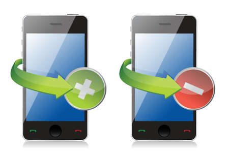 maximize: maximize and close phone icons illustration design over white