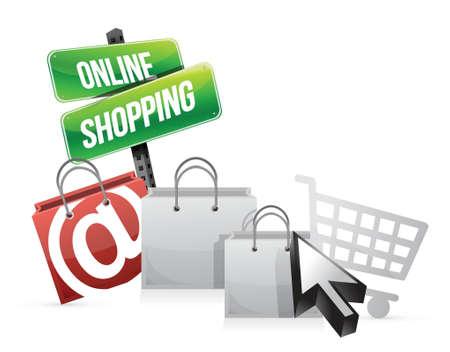 online shopping concept illustration design over white 向量圖像