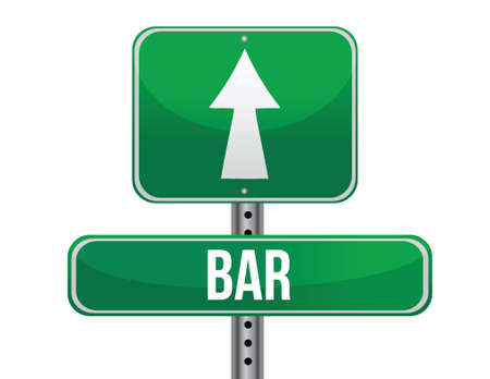 previews: bar road sign illustration design over a white background