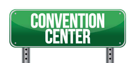 convention: convention center road sign illustration design over a white background