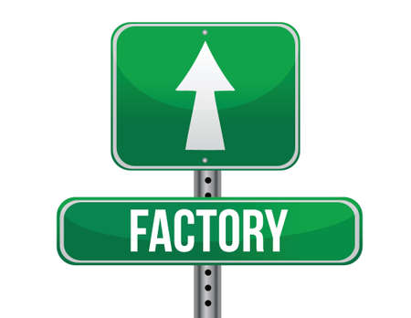 factory road sign illustration design over a white background Illustration