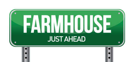 farmhouse road sign illustration design over a white background Ilustracja