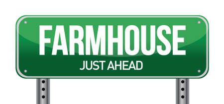 previews: farmhouse road sign illustration design over a white background Illustration
