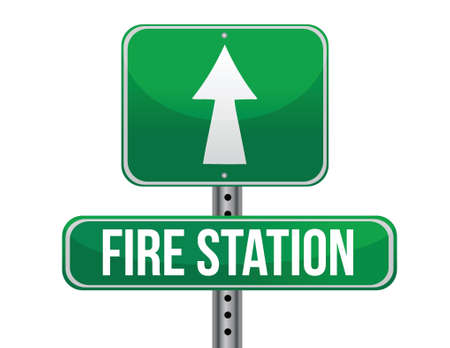 previews: fire station road sign illustration design over a white background