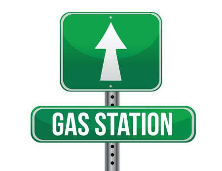previews: gas station road sign illustration design over a white background