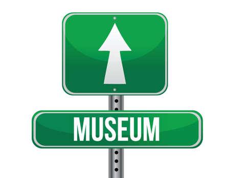 museum road sign illustration design over a white background Illustration