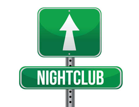 previews: nightclub road sign illustration design over a white background