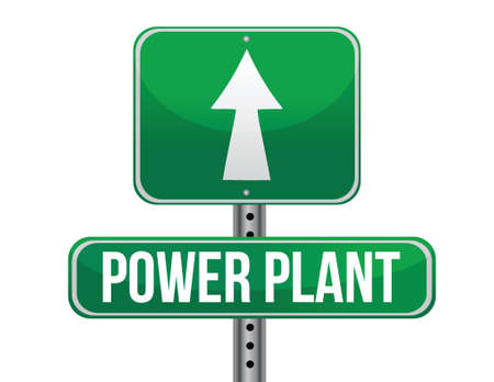 previews: power plant road sign illustration design over a white background