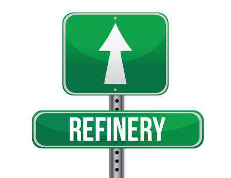 previews: refinery road sign illustration design over a white background