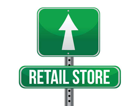 previews: retail store road sign illustration design over a white background Illustration