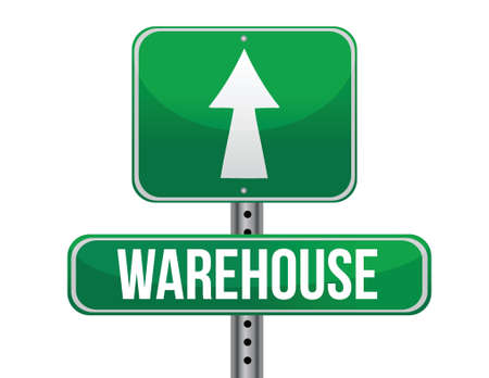 storage warehouse: warehouse road sign illustration design over a white background