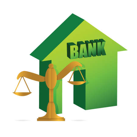 Design Bank Wit.Bank And Gold Balance Illustration Design Over White Royalty Free