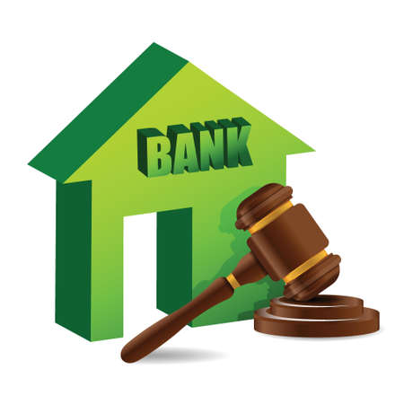 Judges gavel and bank illustration design over white Stock Vector - 18593292