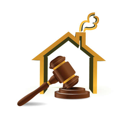 judge hammer: real estate auction illustration design over white
