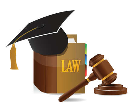 education Judge lawsuit hammer on law book illustration design over white Vector