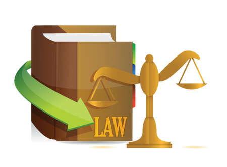 law and order: Legislation concept. Balance and book illustration design over white
