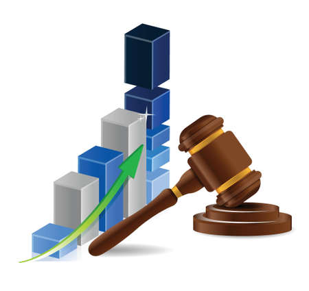 business graph chart and gavel illustration design over white