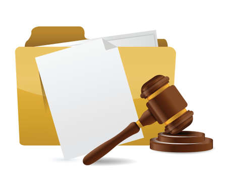 folder document papers and gavel illustration design over a white background