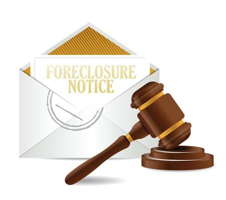 sounding: foreclosure notice document papers and gavel illustration design over a white background