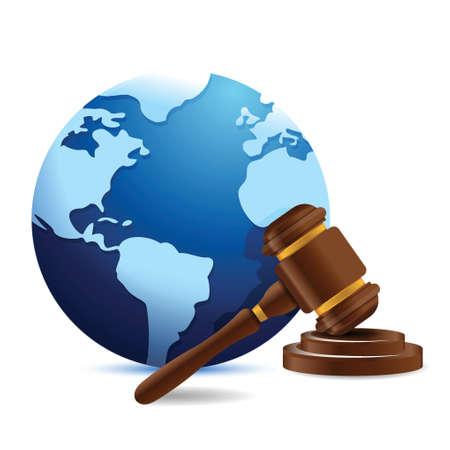 international globe and gavel illustration design over a white background Stock Vector - 18593308