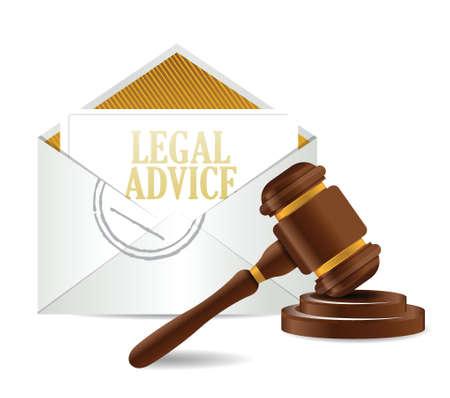 legal advice and gavel illustration design over a white background Stock Illustratie