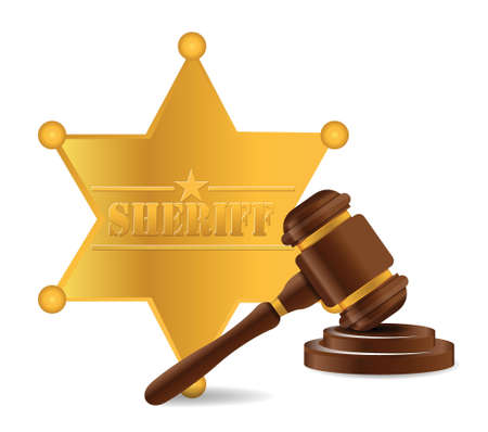 police sheriff shield and gavel illustration design over a white background Stock Vector - 18593285