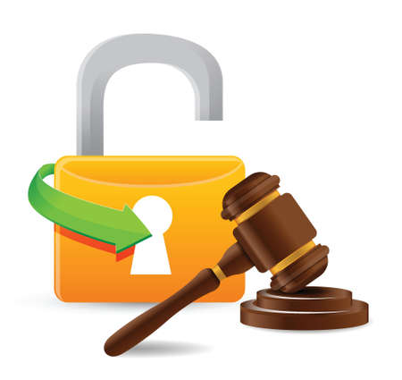 sounding: unlock and gavel illustration design over a white background