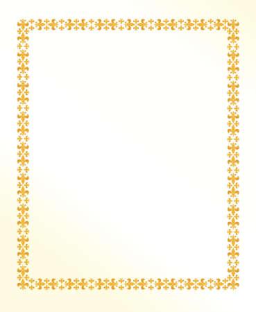 white lilly: Vintage royal lilly frame illustration design over a golden white paper