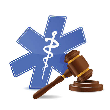 sounding: medical symbol and gavel illustration design over a white background