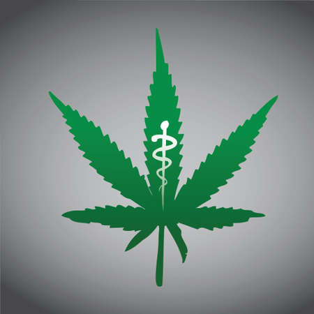 medical cure: cannabis, marijuana on medical prescription illustration design
