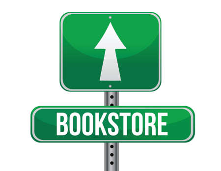 previews: bookstore road sign illustration design over a white background