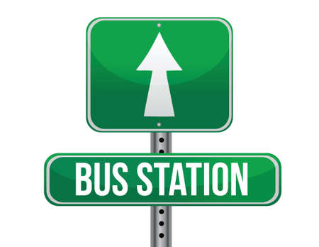 previews: bus station road sign illustration design over a white background