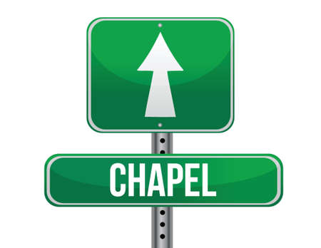 fanatic: chapel road sign illustration design over a white background