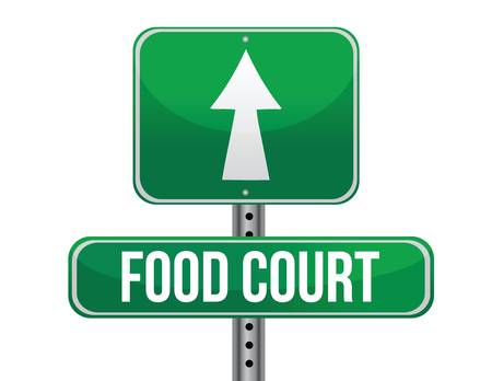 highway signs: food court road sign illustration design over a white background