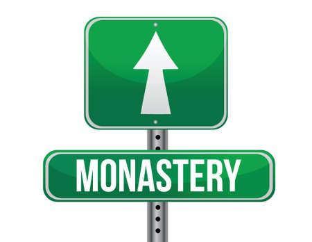 fanatics: monastery road sign illustration design over a white background