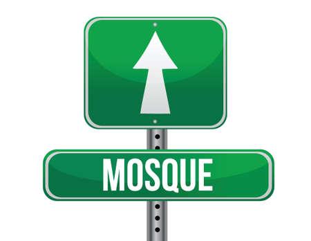 followers: moschea strada segno illustrazione di progettazione su uno sfondo bianco Vettoriali