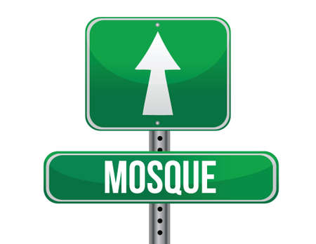 fanatics: mosque road sign illustration design over a white background