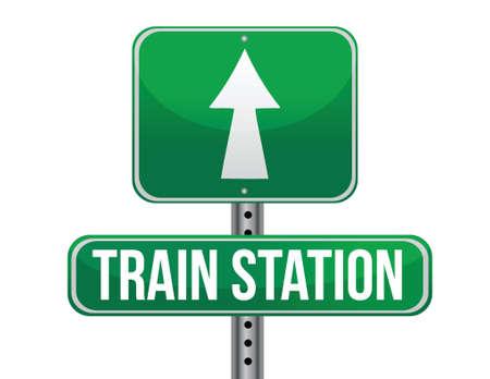 Station de train routier design illustration signe sur un fond blanc Banque d'images - 18593254