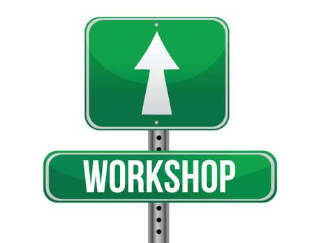 previews: workshop road sign illustration design over a white background