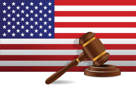 us flag and gavel illustration design over a white background