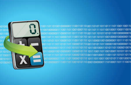 binary background and modern calculator illustration design