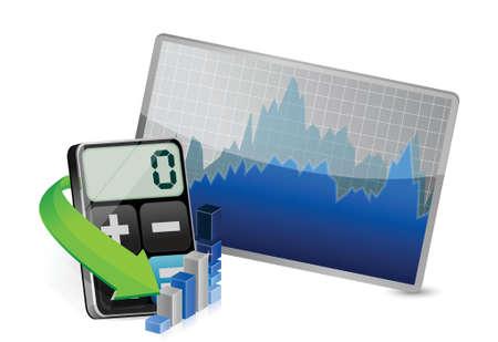 stock market and modern calculator illustration design over white