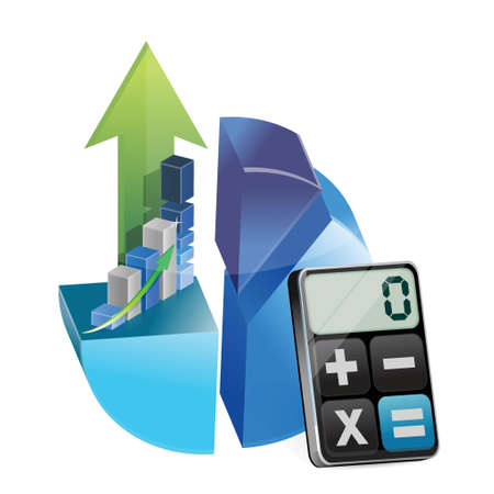 business graphs and modern calculator illustration design over white Illustration