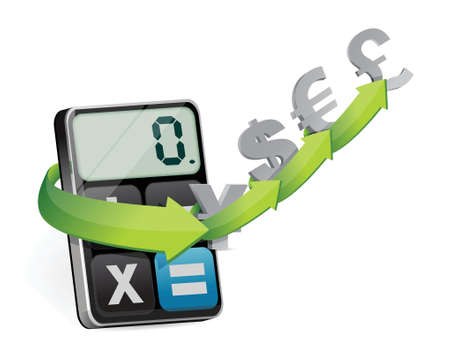 subtract: currency exchange and modern calculator illustration design over white
