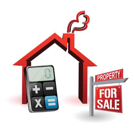 home for sale: immobiliare e moderno design illustrazione calcolatrice su bianco Vettoriali