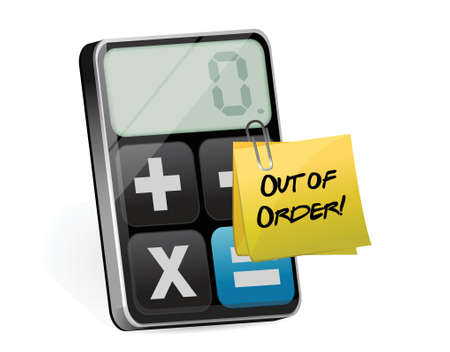 out of order: out of order post and modern calculator illustration design over white
