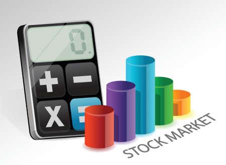 minus: stock market and modern calculator illustration design over white