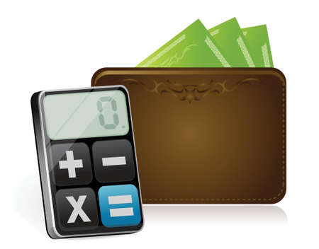 wallet and modern calculator illustration design over white