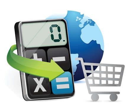 shopping cart and modern calculator illustration design over white Vector